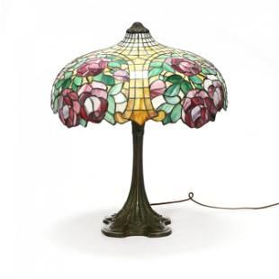 "Gorham, ""Rose"" Leaded Glass Table Lamp"