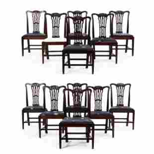 Set of Twelve George III Carved Mahogany Dining Chairs