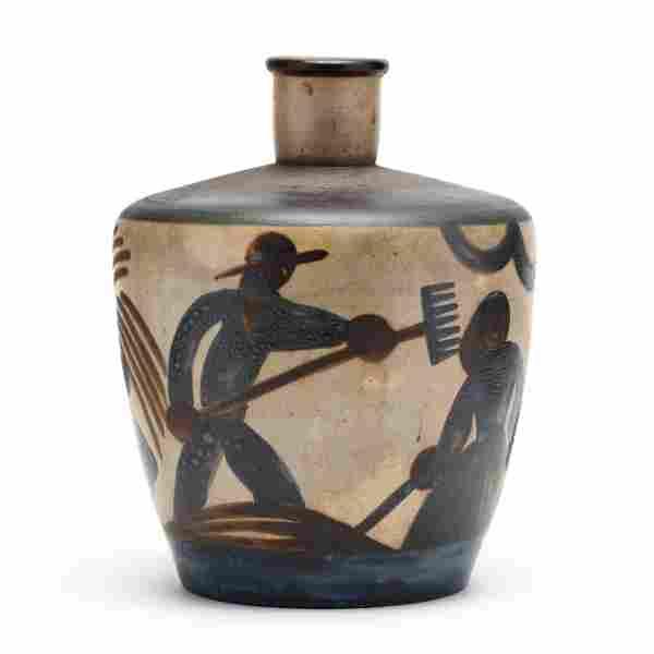 French Art Deco Pottery Vase, Primavera