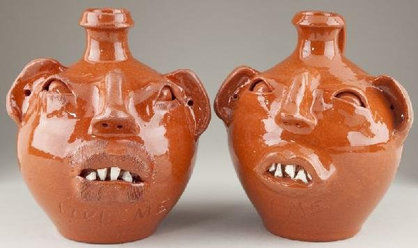 4: Pair of M.L. Owens Face Jugs NC Pottery