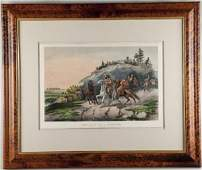 539 Rare Currier  Ives Western Americana Lithograph