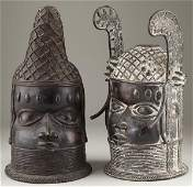 678 Two BeninStyle Bronze Oba Heads