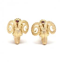 Gold and Gem-Set Ram's Head Motif Earrings