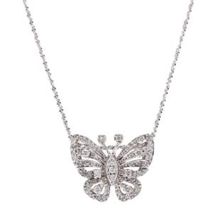 White Gold and Diamond Butterfly Necklace