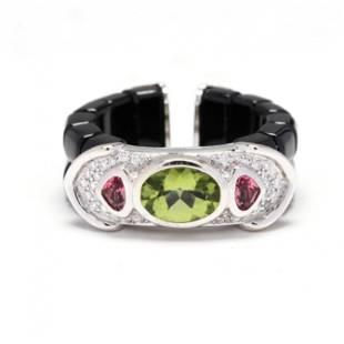 White Gold, Black Jade, and Gem-Set Ring, Marina B