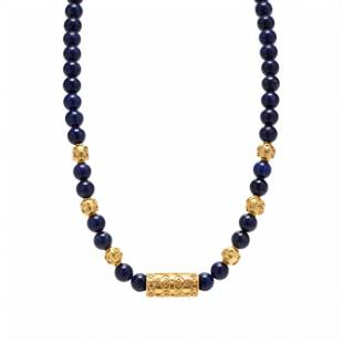 Gold and Lapis Bead Necklace