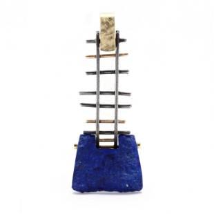 Modernist Gold, Silver, and Lapis Lazuli Pendant,