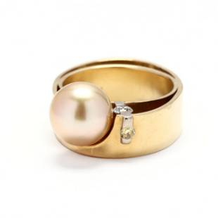 Gold, Pearl, and Diamond Ring, Jewelsmith