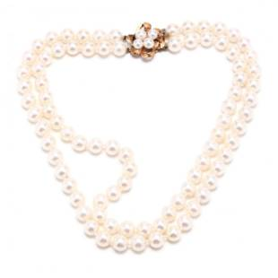 Double Strand Pearl Necklace with Gold and Pearl Clasp