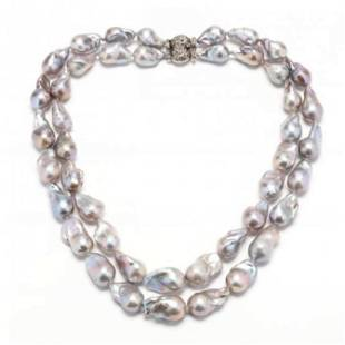 Double Strand Baroque Pearl Necklace with Silver and