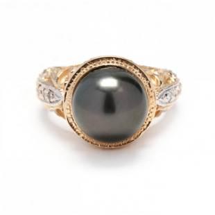 Bi-Color Gold, Tahitian Pearl, and Diamond Ring