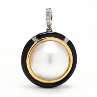 Bi-Color Gold, Mabé Pearl, and Diamond Pendant, Trio
