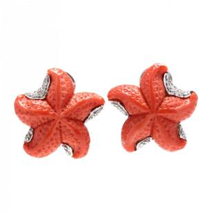 White Gold, Coral, and Diamond Earrings