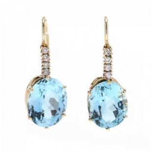 Gold, Aquamarine, and Diamond Ear Pendants