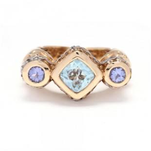 Bi-Color Gold and Gem-Set Ring