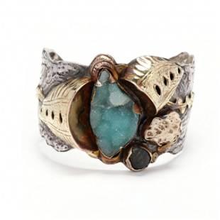 Gold, Silver, and Gem-Set Sculptural Cuff Bracelet,