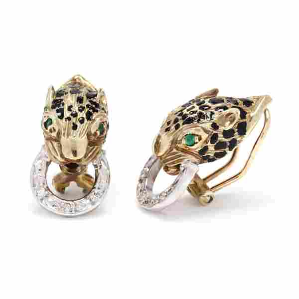 Gold and Gem-Set Jaguar Earrings