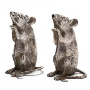 A Pair of Victorian Silver Novelty Shakers in the Form