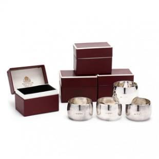 Four Elizabeth II Silver Napkin Rings by Mappin & Webb