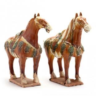 A Pair of Tang Style Sancai Glazed Horses