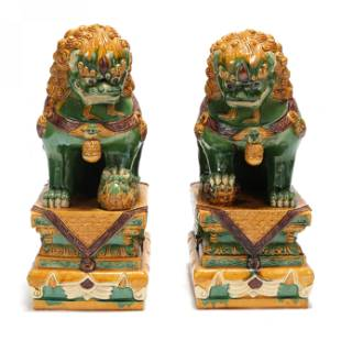 A Pair of Large Chinese Glazed Foo Lions