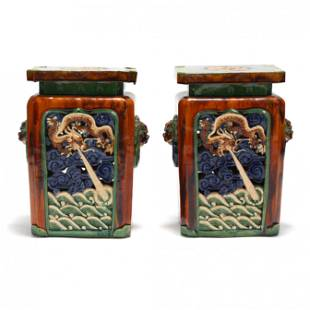 A Pair of Chinese Glazed Garden Stools with Dragons