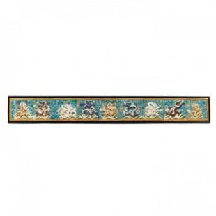 Nine Chinese Dragon Wall Tiles Framed