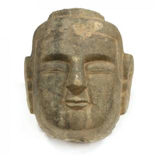 A Monumental Carved Chinese Buddha Head