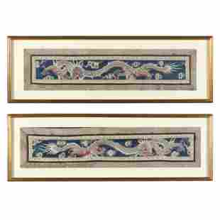 A Pair of Chinese Dragon Embroidered Panels