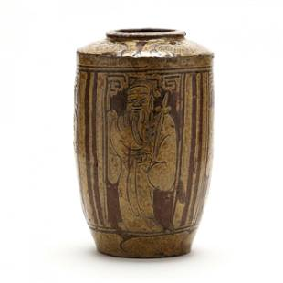 A Chinese Earthenware Pottery Vase with Immortals