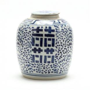 A Chinese Porcelain Double Happiness Ginger Jar and