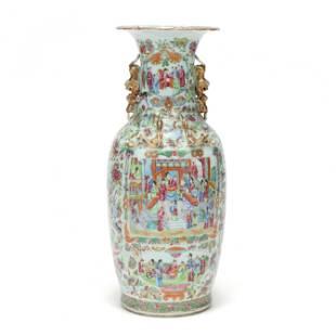 A Tall Chinese Porcelain Rose Mandarin Floor Vase