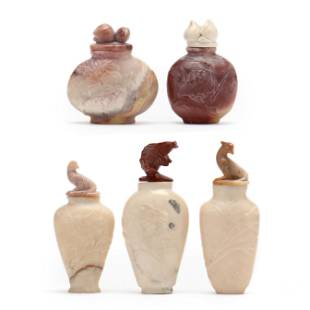 A Group of Five Carved Soapstone Snuff Bottles