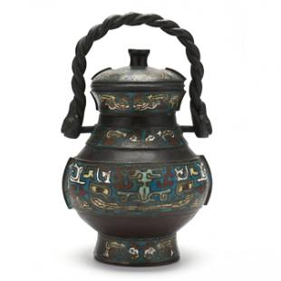 An Chinese Champlevé Wine Jar with Cover