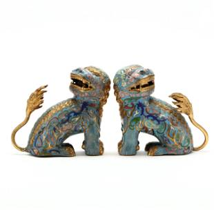 A Pair of Chinese Cloisonné and Gilt Foo Lions