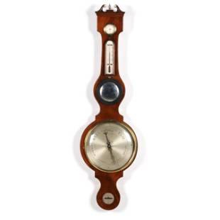 "English Mahogany Wheel Barometer Signed ""J. Pensa"""