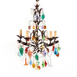 Murano, Five Arm Chandelier with Blown Glass Fruit