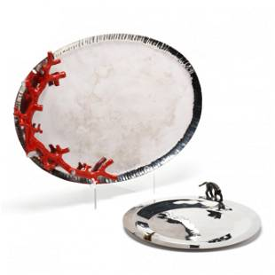 Michael Aram, Two Figural Handled Serving Trays