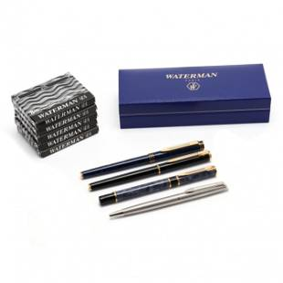 Four Waterman Pens and Cartridges
