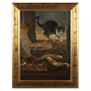 Continental School (19th century), Cat with a Fish