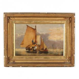 Antique Continental School Maritime Painting