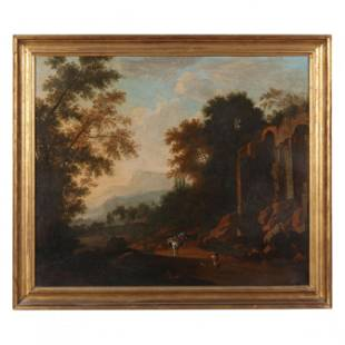 Italian School (circa 1800), Landscape with Ruins and a