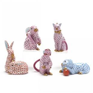 Five Herend Porcelain Animals