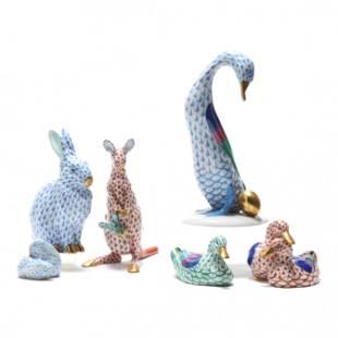 Six Herend Porcelain Animal Figurines