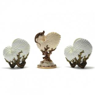 Three Porcelain Nautilus Shell Vases