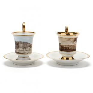 Two KPM Porcelain Cups and Sauces
