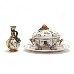 Antique Majolica Wine Pitcher and Faience Tureen and