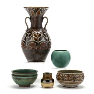 Group of Five Contemporary Pottery Vessels