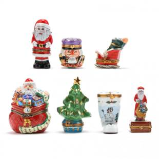 Seven Limoges Trinket Boxes Relating to Christmas