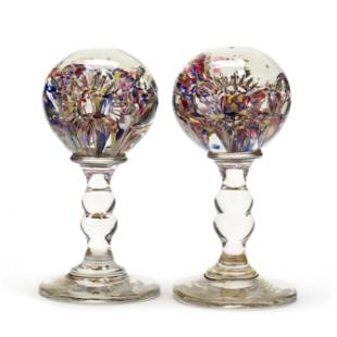 Pair of Antique English Glass Paperweight Wig Stands